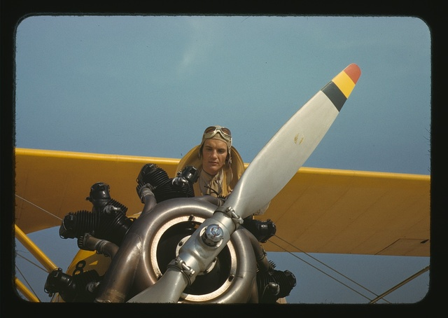 Marine lieutenant with the towing plane for the gliders at Page Field, Parris Island, S.C.