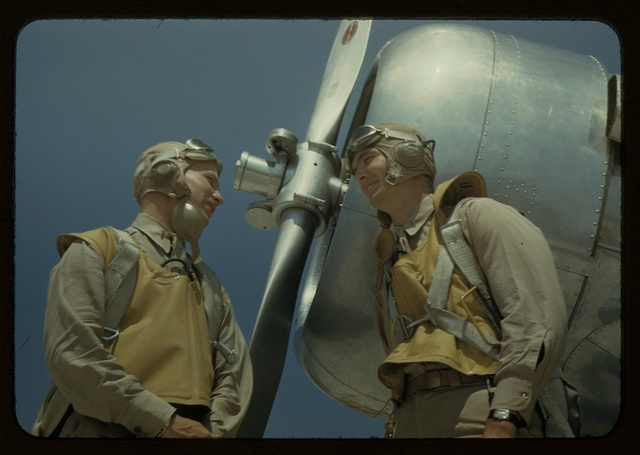 Marine lieutenants, pilots, by the power tow-plane for the training gliders at Parris Island's Page Field, S.C.
