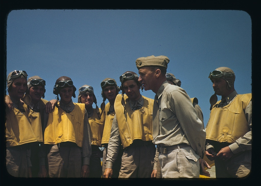 Marine lieutenants studying glider piloting at Page Field, Parris Island, S.C.