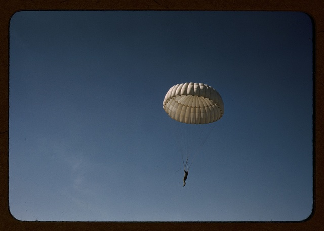 Marine parachuting at Parris Island, S.C.