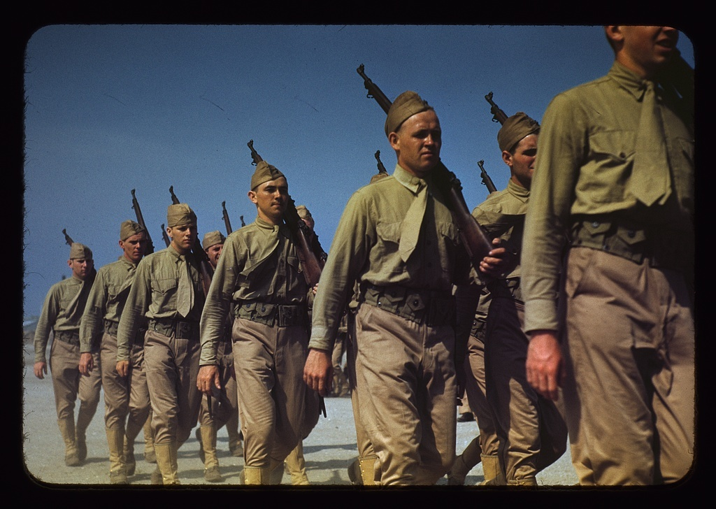 Marines finishing training at Parris Island, S.C.