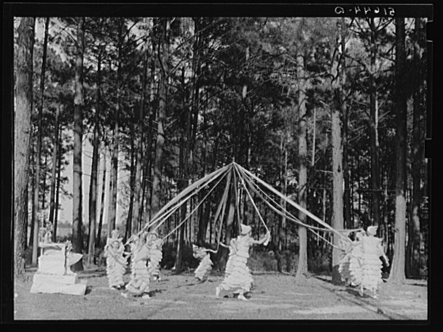 May queen and maypole dance at May Day-Health Day festivities at Irwinville Farms, Georgia