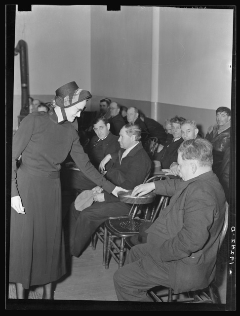 Meeting opens with taking the collection. Army contributes (about one dollar and fifty cents) again, as well as the audience. Salvation Army, San Francisco, California