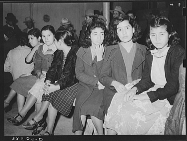Mexican pecan workers waiting in union hall for assignment to work. San Antonio, Texas