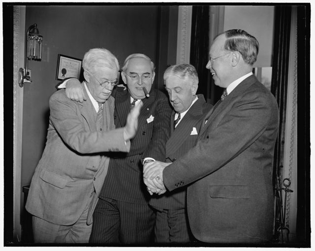 Michigan senator congratulated on 55th birthday. Washington, D.C., March 22. Senator Arthur M. Vandenberg, who is being prominently mentioned as the Republican Presidential Nominee in 1940, is pictured receiving the congratulations on his 55th birthday today from fellow Republicans in the Senate. The Senator said he planned no special celebration for the occasion. Left to right: Senators John G. Townsend, Jr., of Delaware, Vandenberg Wallace H. White Jr., or Main and Robert A. Taft.