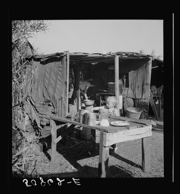 Migrant packinghouse workers' living quarters: tin and burlap shack in swamp cane by canal. From Tennessee, two families, eight children. Belle Glade, Florida. See general caption no. 2
