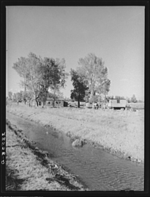 Migrant potato pickers' shacks near irrigation ditch. Rio Grande County, Colorado