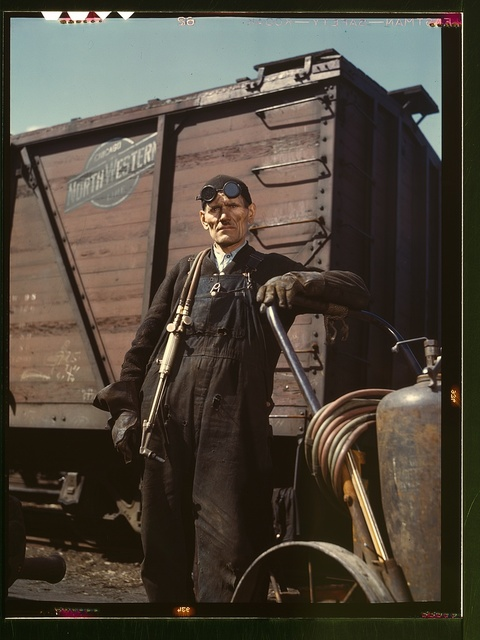 Mike Evans, a welder, at the rip tracks at Proviso yard of the C & NW RR, Chicago, Ill.