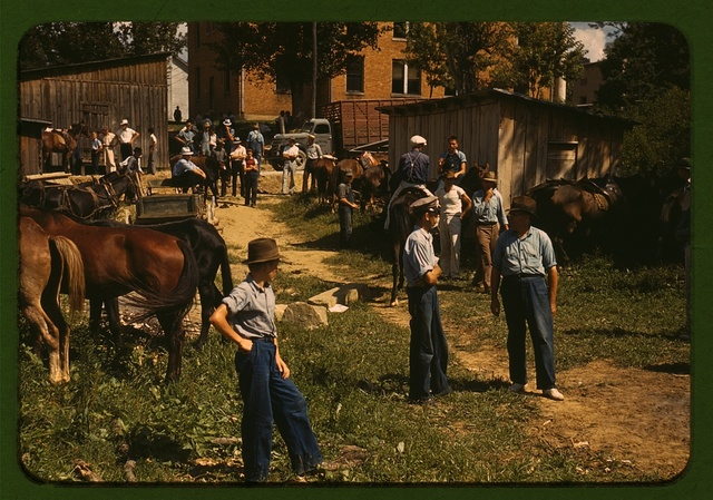 """Mountaineers and farmers trading mules and horses on """"Jockey St.,"""" near the Court House, Campton, Wolfe County, Ky."""