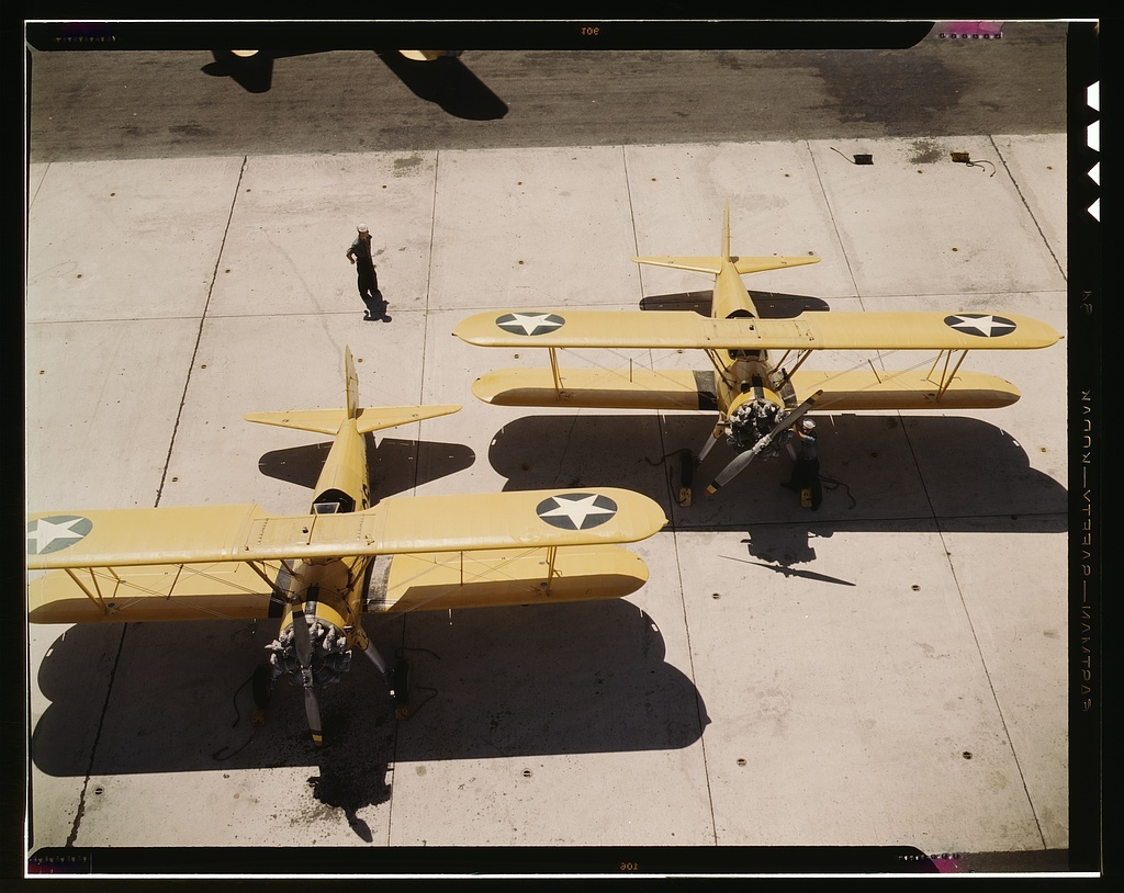 Navy N2S primary land planes at the Naval Air Base in Corpus Christi, Texas