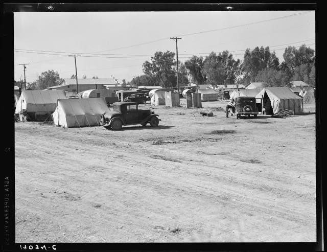 Near Holtville, Imperial Valley, California. Migratory labor housing during carrot harvest. This field owned by proprietor of adjoining grocery store who allows workers to camp here rent-free. Approximately sixty families were living in camp