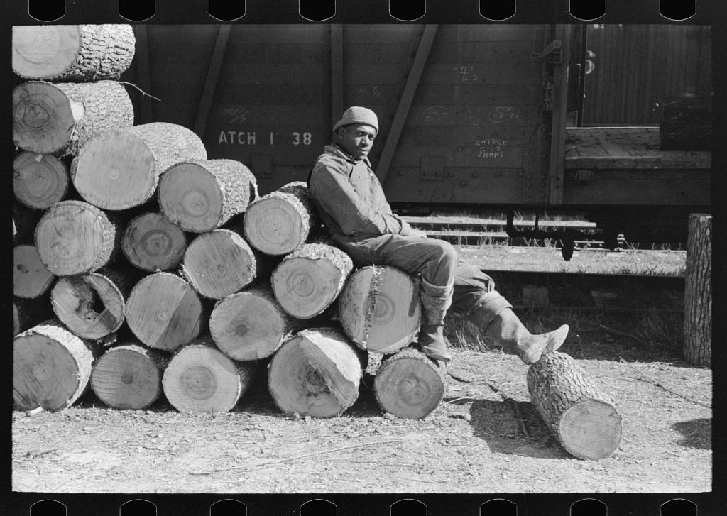 Negro resting on pile of logs to be loaded into box car, Eudora, Arkansas. These logs will be shipped to Tallulah, Louisiana to be made into barrel staves