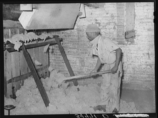 Negro stuffing linters into baling machine. Cotton seed oil mill, McLennan County, Texas