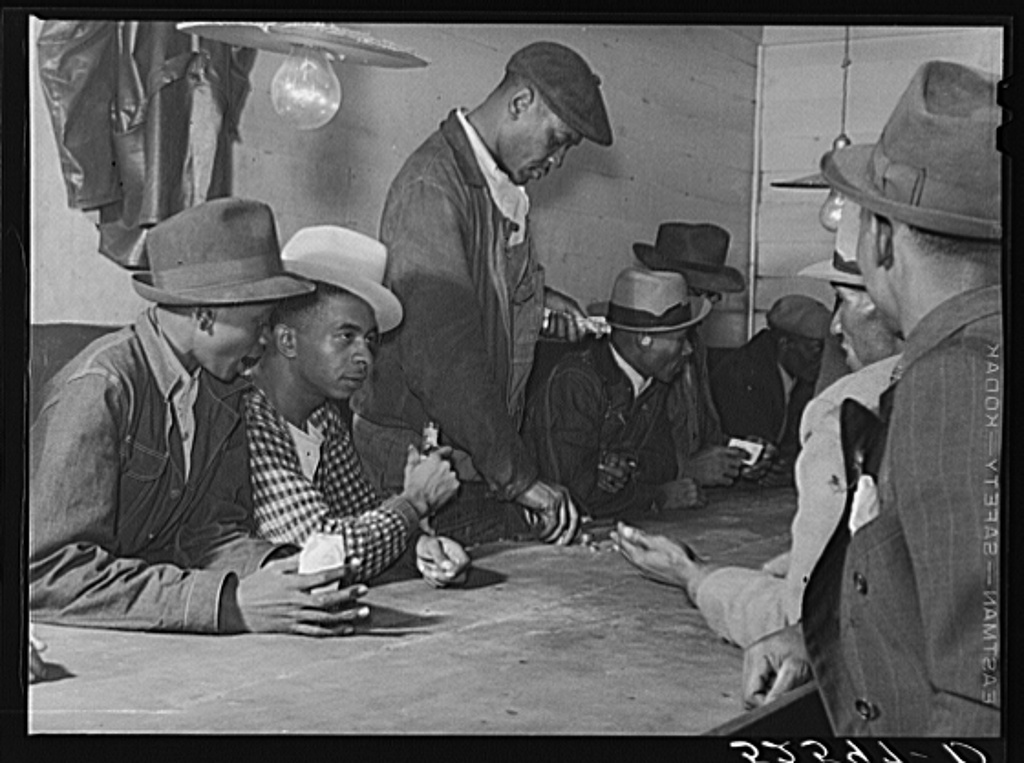 Negroes spending their cotton money in gambling and juke joint, Saturday night, outside Clarksdale, Mississippi Delta