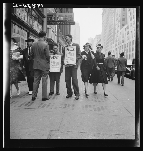 New York City. Four firms on 42nd Street in block east of Fifth Avenue were being picketed in this manner on this afternoon