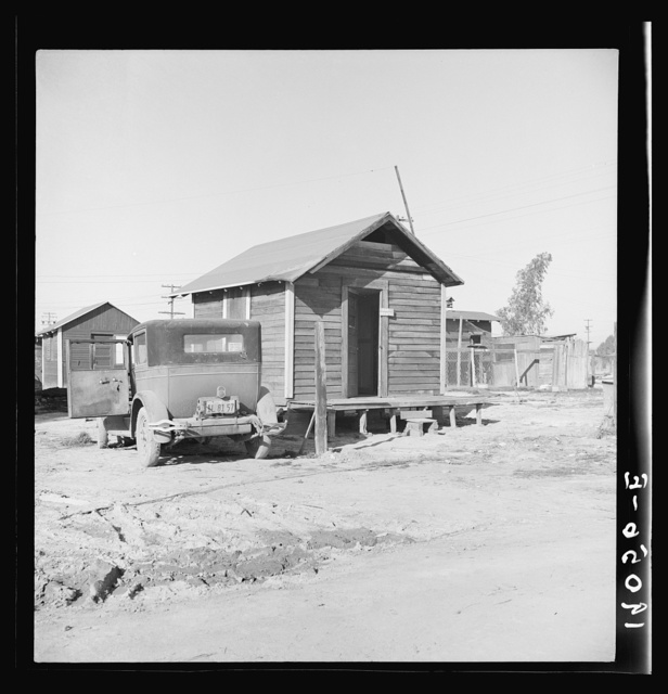 Newly-built cabins. Rent five dollars per month. California. Near Bakersfield