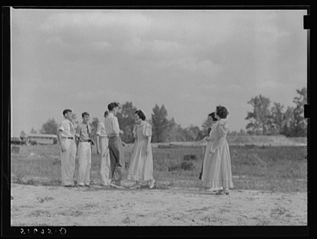 Ninth grade dancing Virginia reel at May Day-Health Day festivities. Ashwood Plantations, South Carolina