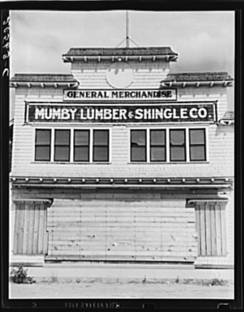 Office and company store, which shut down when mill closed in 1938. Western Washington, Grays Harbor County, Malone, Washington. See General caption number 39