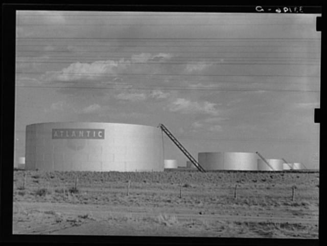 Oil tanks near Midland, Texas