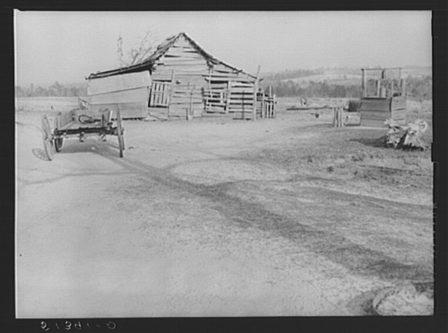 Old barn and well. Lewis family, R.R. (Rural Rehabilitation). Coffee County, Alabama