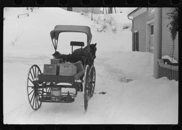 Old-fashioned country peddler who goes from door to door selling hardware and groceries, Woodstock, Vermont