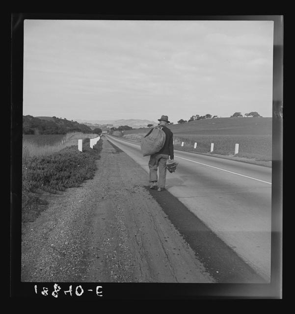 "On U.S. 101 near San Luis Obispo, California. Itinerant worker. Not the old ""Bindle-Stiff"" type"