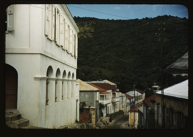 One of the steep streets on the hillsides, Charlotte Amalie, St. Thomas Island, Virgin Islands