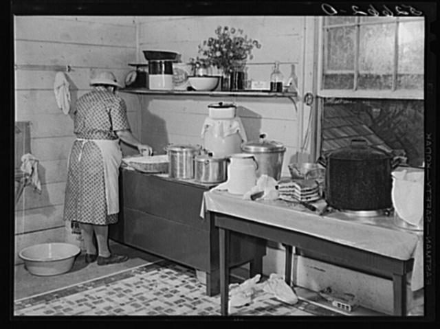 One of the Wilkins family making biscuits for dinner on corn-shucking day at home of Mrs. Fred Wilkins. Tallyho, near Stem, Granville County, North Carolina