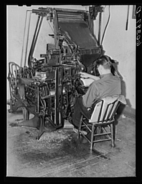 Operating linotype machine. Office of the Valley News. Browns Valley, Minnesota