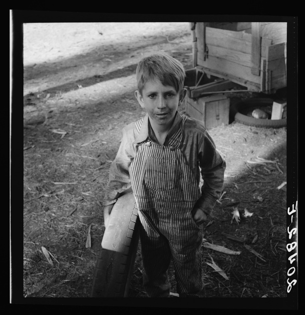 "Oregon, Marion County, near West Stayton. Bean picker's child. Just arrived from near Joplin, Missouri. Question: ""Why did you leave there?""  Answer: ""We couldn't make it."""
