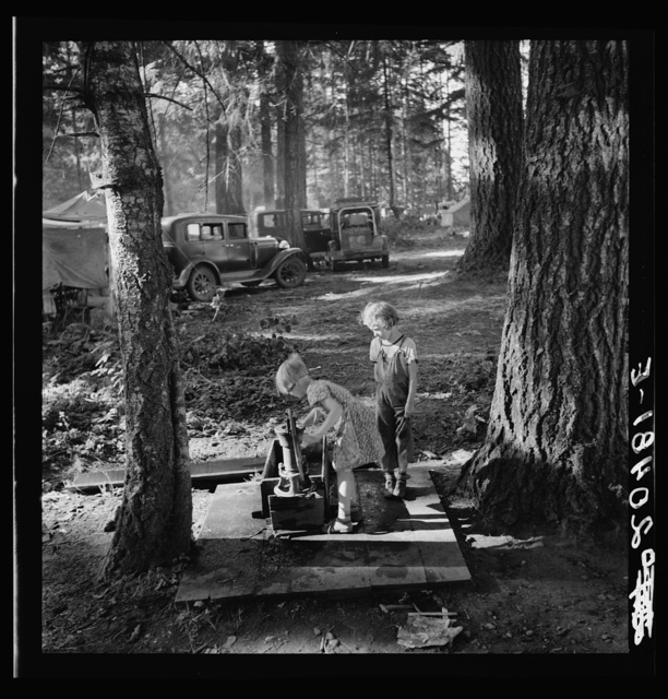 Oregon, Marion County, near West Stayton. Children in large private bean pickers camp. Pickers came from many states, from Oklahoma to North Dakota