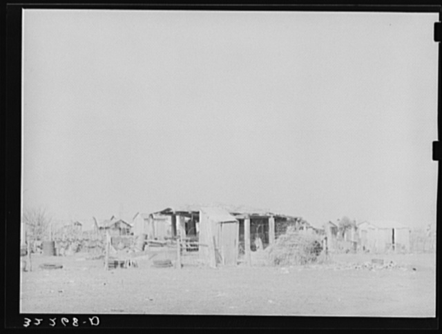 Outbuildings and housing in Mexican district. Robstown, Texas