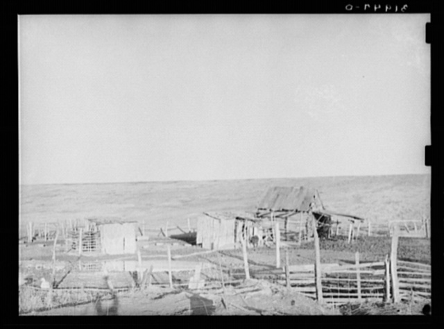 Outbuildings on Negro farmer's farm against the levee. Near Lake Providence, Louisiana