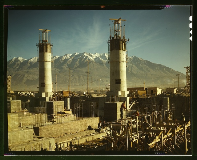 Partly finished open hearth furnaces and stacks for a steel mill under construction which will soon be producing vitally needed steel, Columbia Steel Co., Geneva, Utah