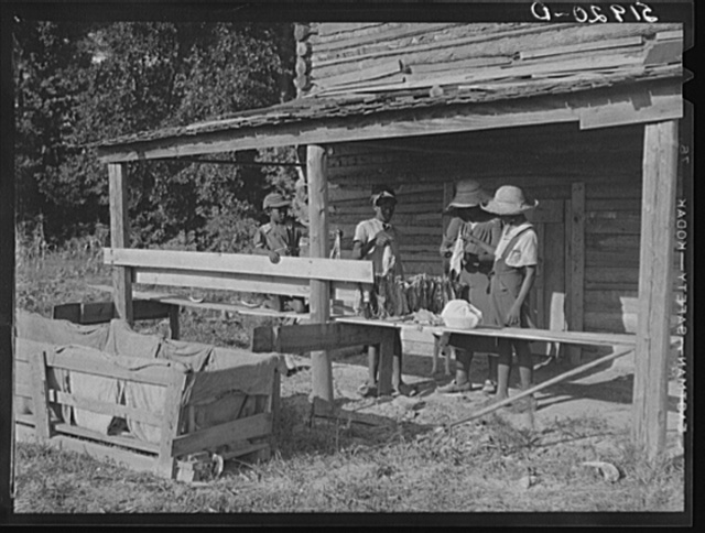 Pauline Clyburn, rehabilitation client, and her children stringing tobacco. Manning, Clarendon County, South Carolina