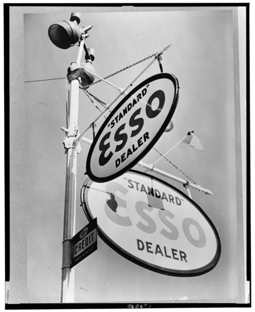 Philadelphia, Pennsylvania. Gasoline sign on Chestnut Street