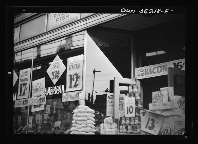 Philadelphia, Pennsylvania. Window of a chain grocery store on Market Street in West Philadelphia