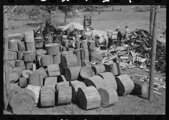 Pile of pine of shingles mill near Jefferson, Texas