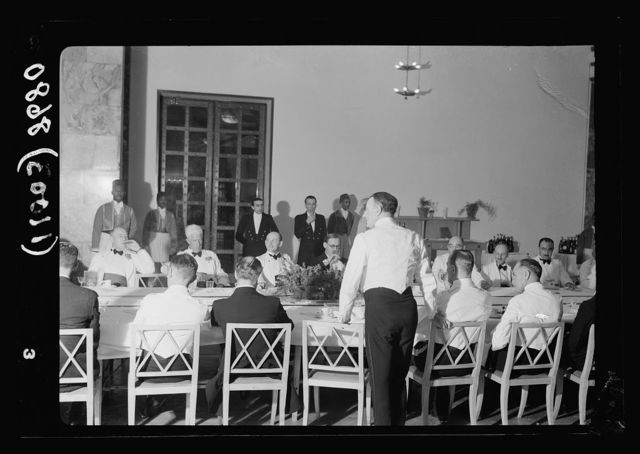 Police banquet, King David Hotel, Col. Saunders making a speech, May 20, 1939