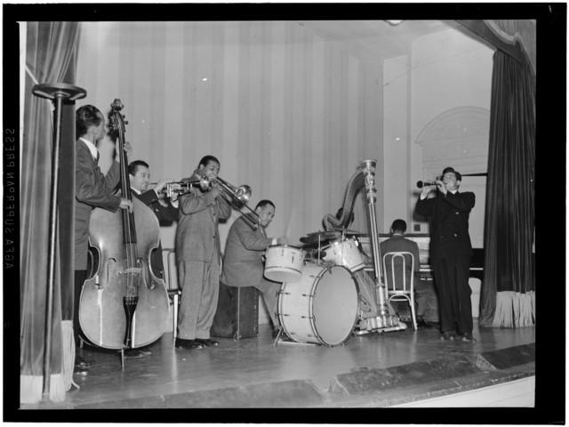 [Portrait of Tommy Potter, Max Kaminsky, Benny Morton, Zutty Singleton, Adele Girard, Teddy Wilson, and Joe Marsala, National Press Club, Washington, D.C., ca. 1939]