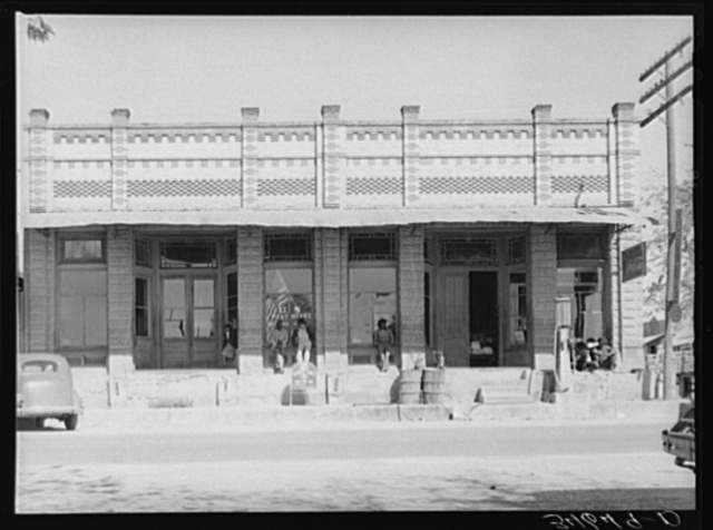Post office and business establishments on the main street of Waelder, Texas