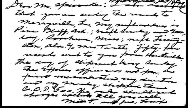 Postcard from John A. Lomax to Harold Spivacke