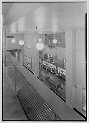 Postman's, business at 436 5th Ave., New York City. View from above with glass rail