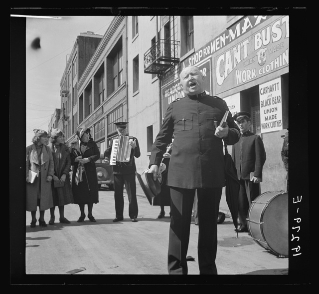 """Power of the Lord"" preaching by a ""soldier"" saved twelve years before, and with army ever since. Salvation Army, San Francisco, California"