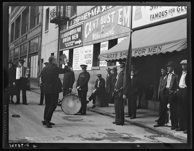 Preaching to the crowd. Salvation Army, San Francisco, California