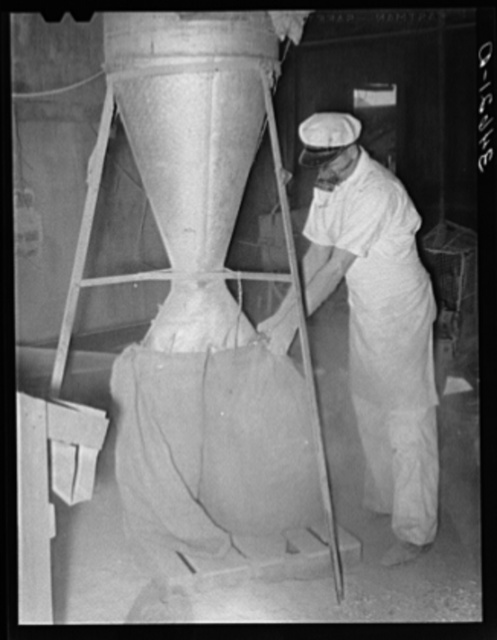 Proprietor of feed mill holding sack into which ground feed pours from hopper above. Taylor, Texas
