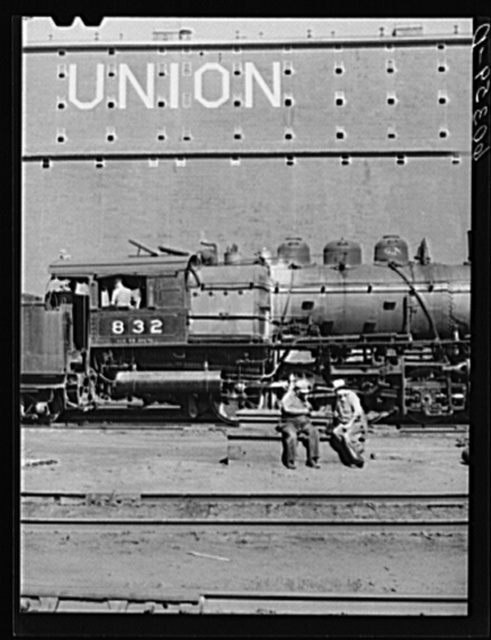 Railroad men at lunch. Grain elevator district. Minneapolis, Minnesota