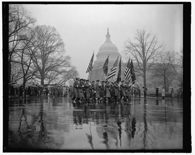 Rain fails to mar Army Day parade in Capitol. Washington, D.C., April 6. With the United States rearming and rumors of war in the air thousands braved a heavy rain today to witness the Army Day parade pass the U.S. Capitol. The parade marked the 22nd anniversary of America's entrance into the World War. 4-6- 39