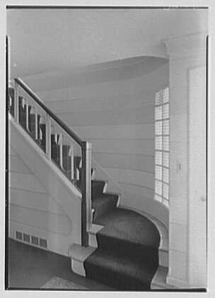 Ralph J. Cordiner, residence on White Oak Rd., Fairfield, Connecticut. Staircase