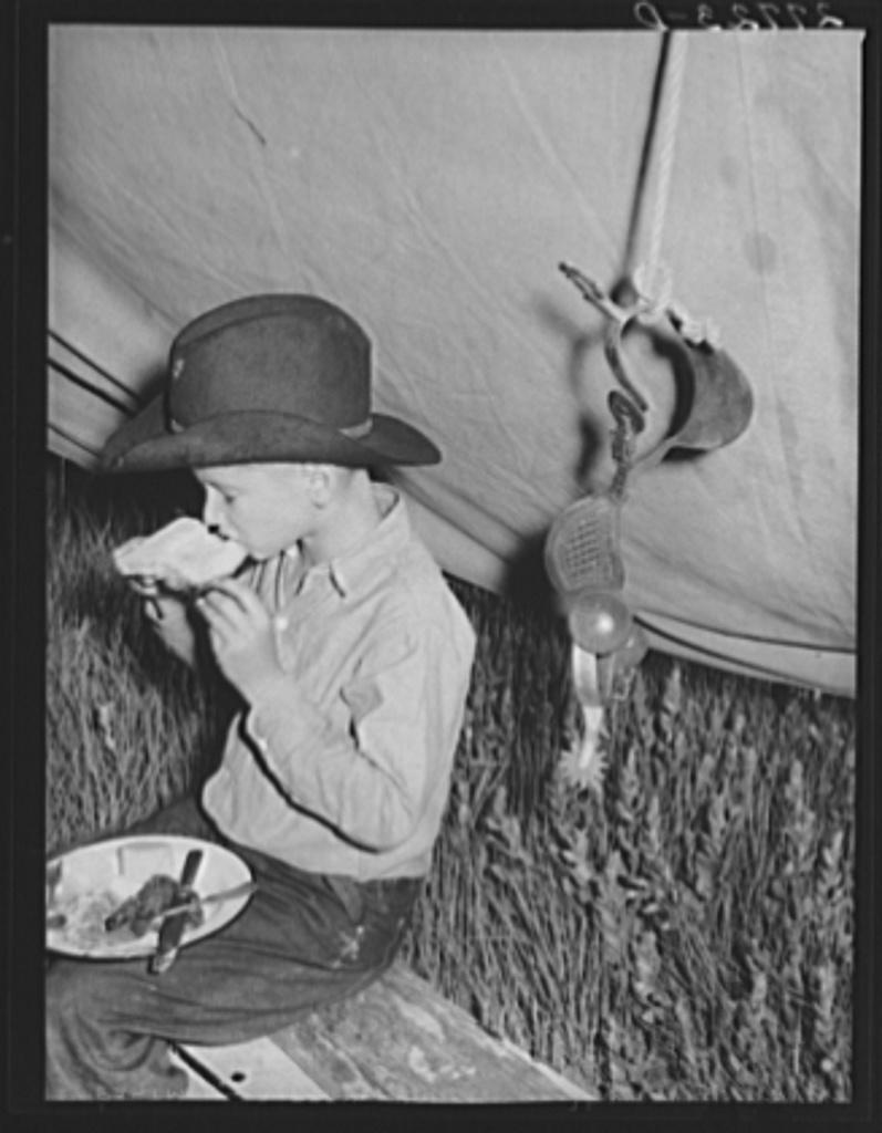 Rancher's son at dinner. Quarter Circle 'U' Ranch roundup. Big Horn County, Montana